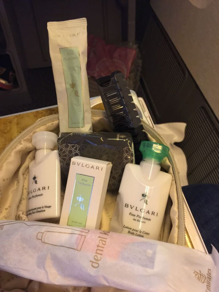 Complimentary travel pack on the writer's flight.