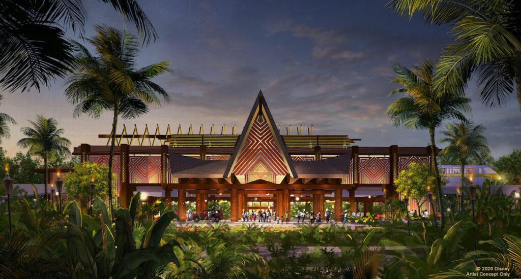 Concept of Portre Cochere, Disney's Polynesian Village Resort.