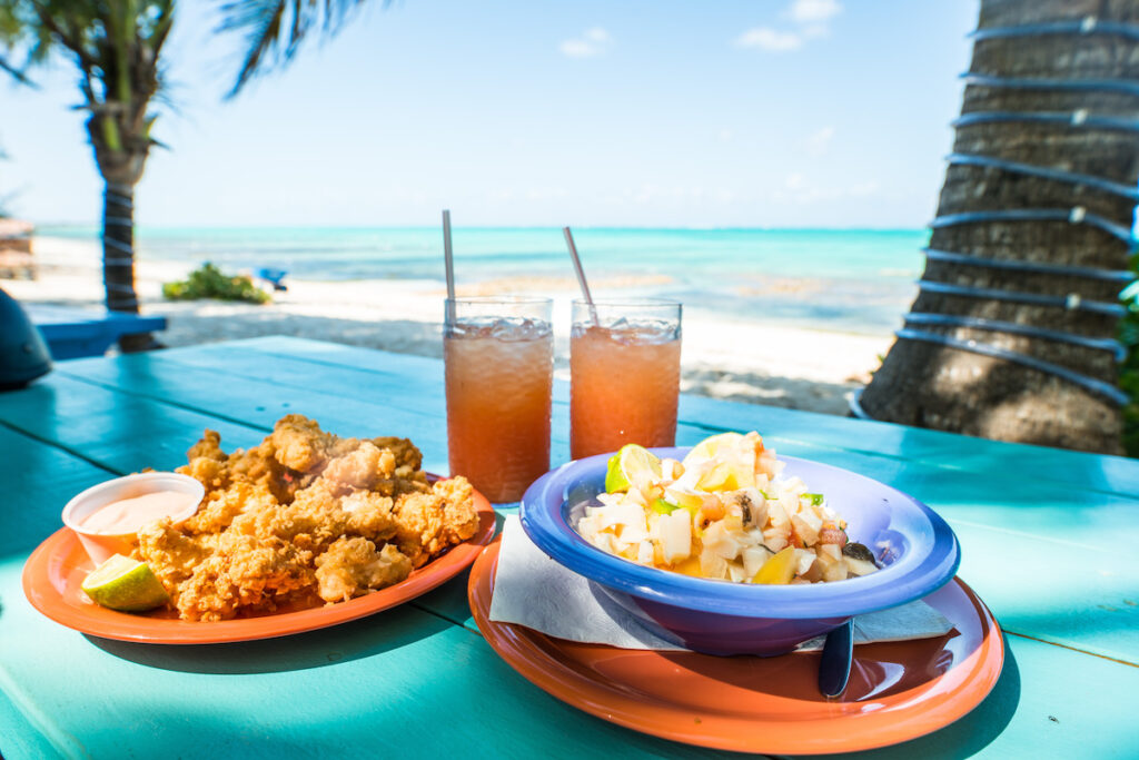 Conch fritters at a restaurant in the Turks and Caicos.
