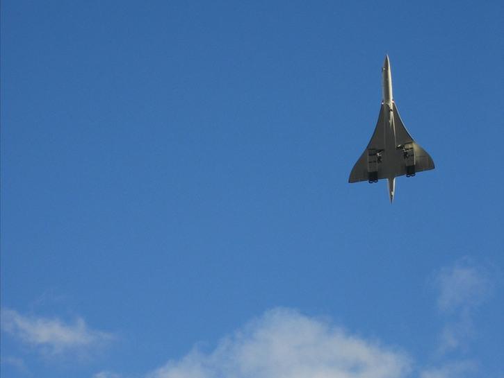 Concorde airplane in flight, seen from below