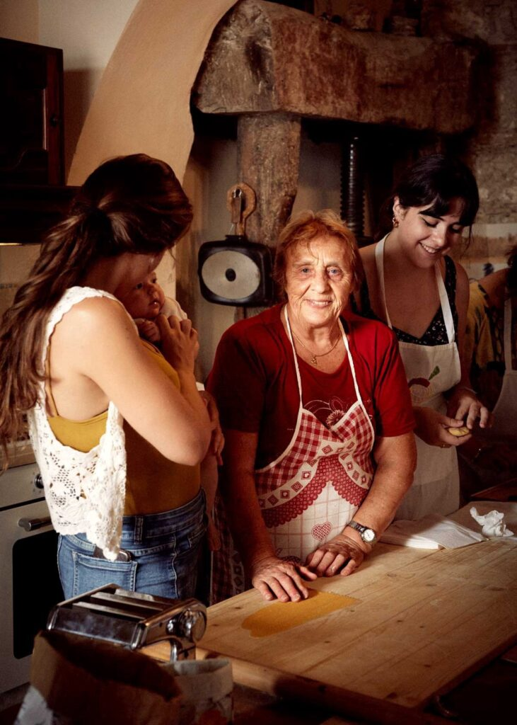 Cooking with grandma Nonna Nerina, and her grandchildren.