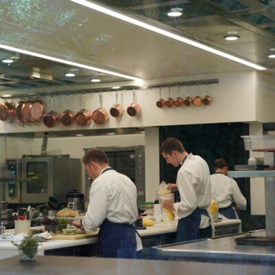 Cooks prepping at the French Laundry in Napa Valley.