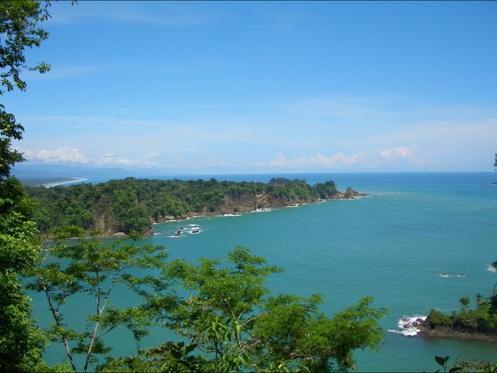 Costa Rican island and canal into the ocean