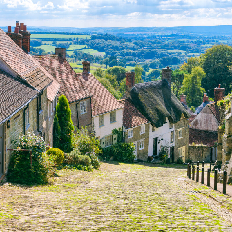 Cottages in the town of Shaftesbury in Dorset, England.