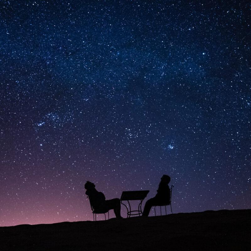 Couple stargazing.