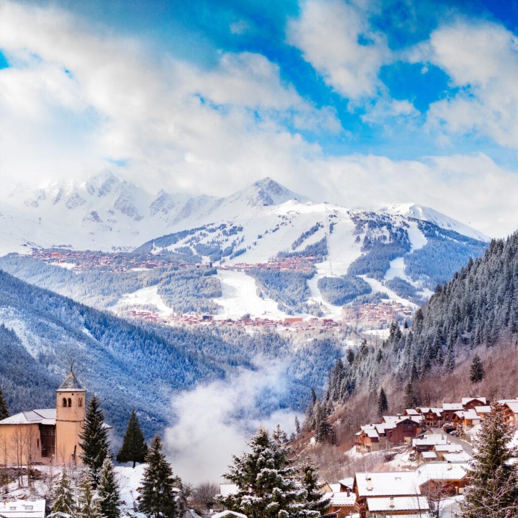 Courchevel, a ski resort village in France.
