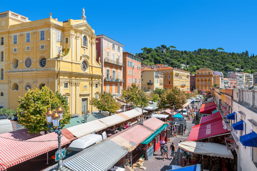 Cours Saleya Market in Nice, France.