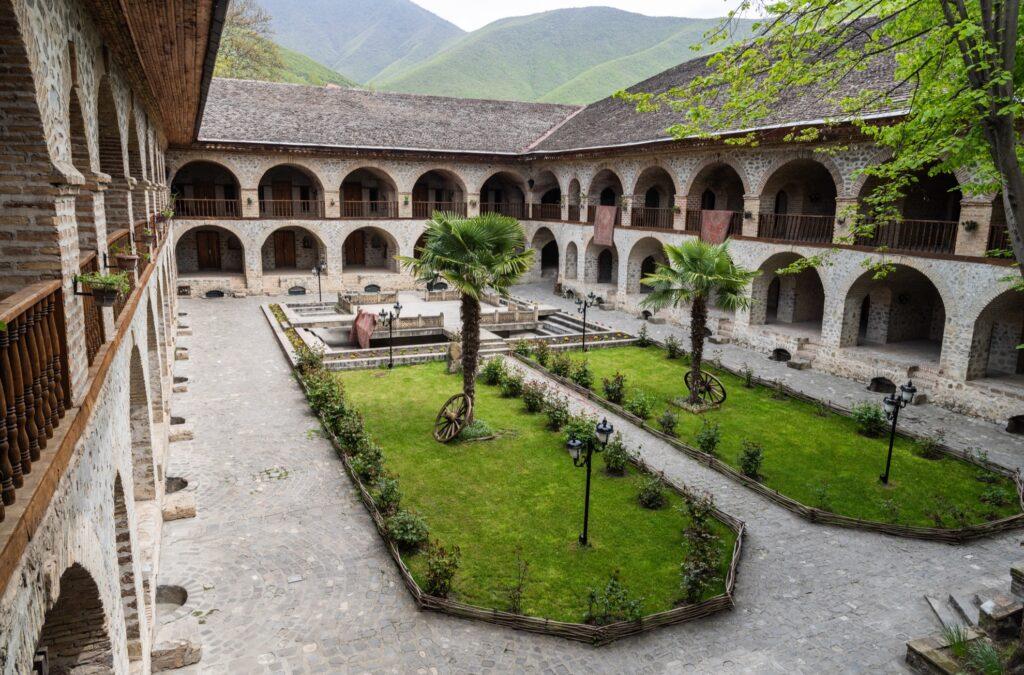 Courtyard of the Karavansaray building in Sheki.