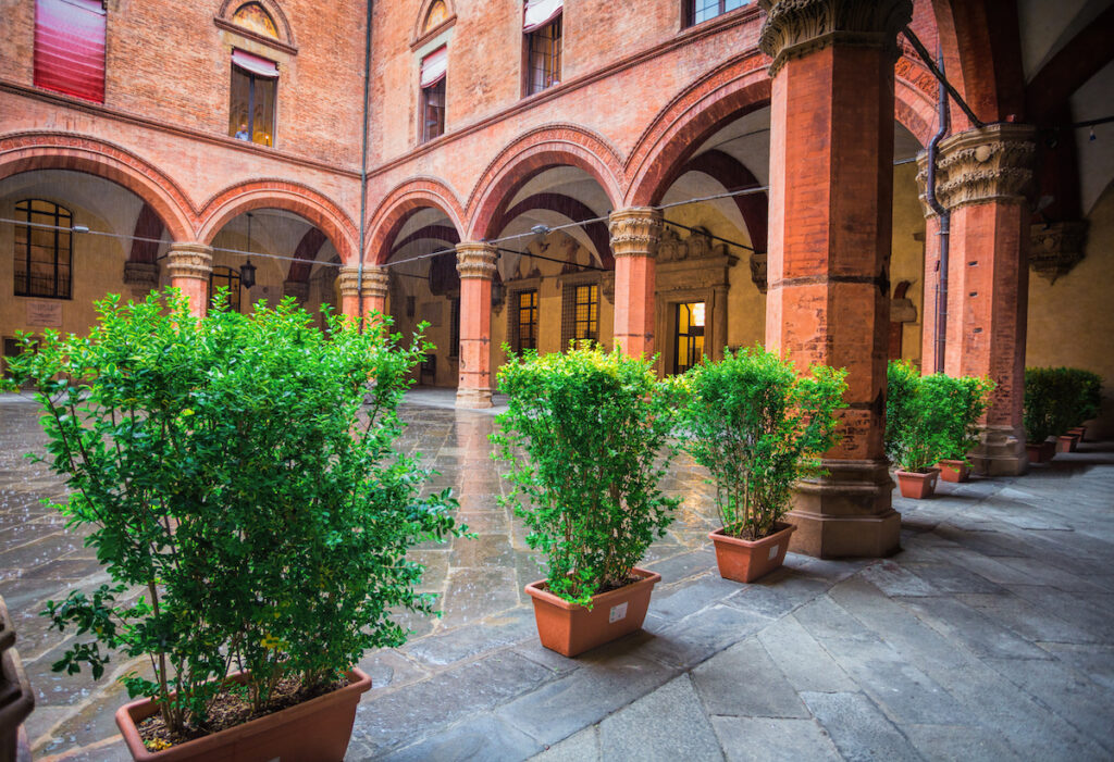 Courtyard of the Palazzo Comunale in Bologna, Italy.