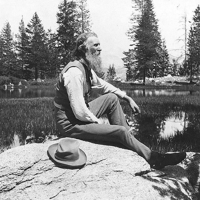 A black and white photo of John Muir.