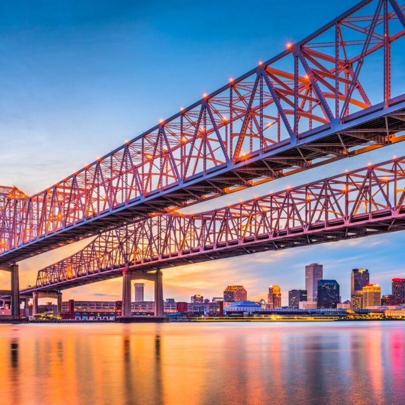 Crescent City Connection Bridge over Mississippi River, New Orleans.