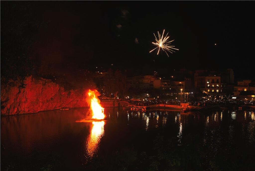 Fireworks in Crete, Greece, on Easter.