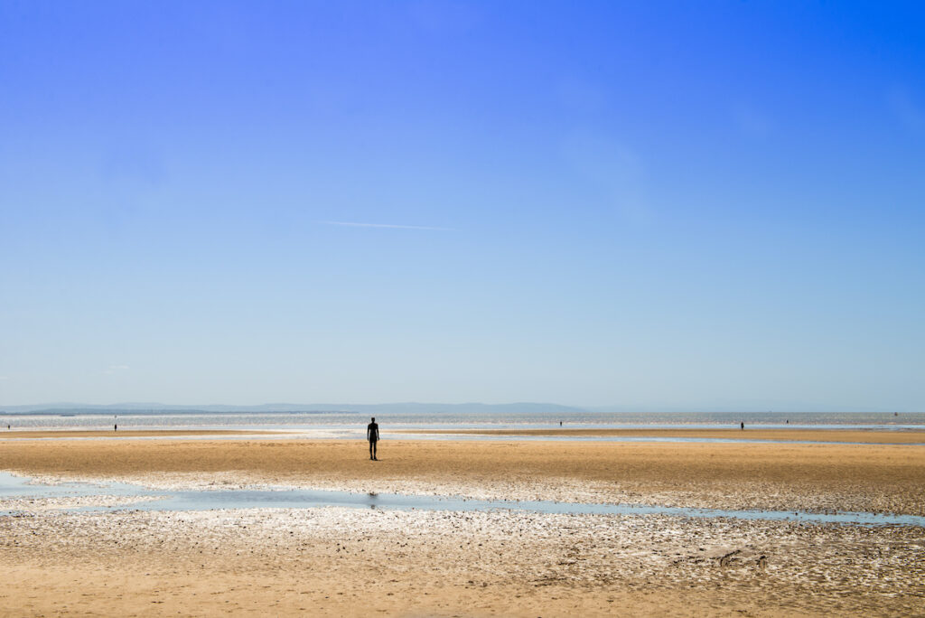 Crosby Beach in Liverpool, England.