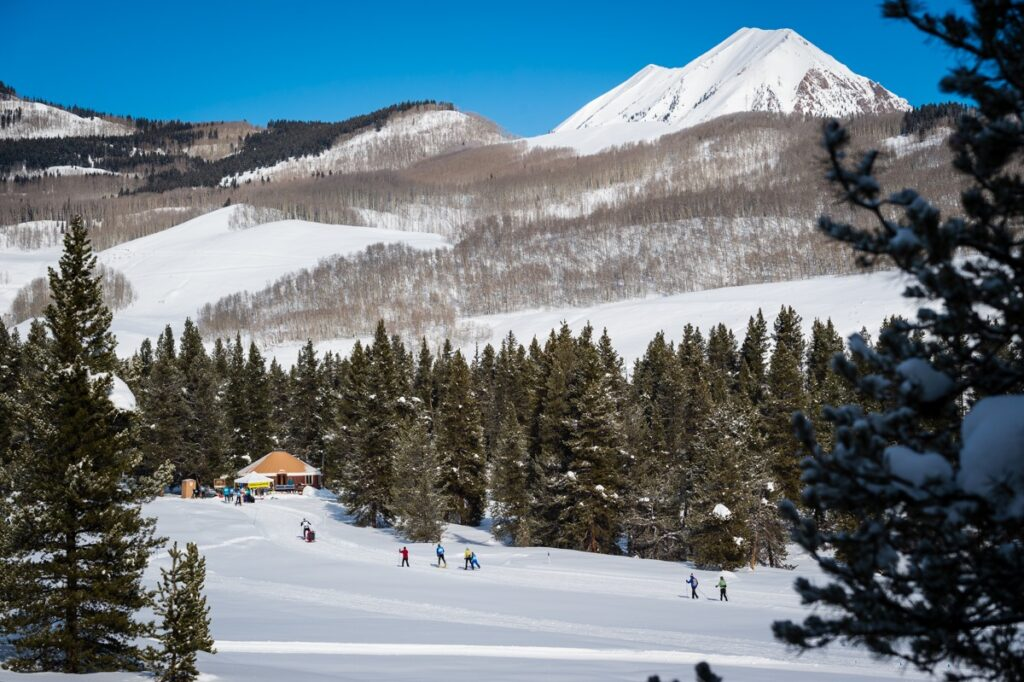 Cross-country skiers in Crested Butte, Colorado.