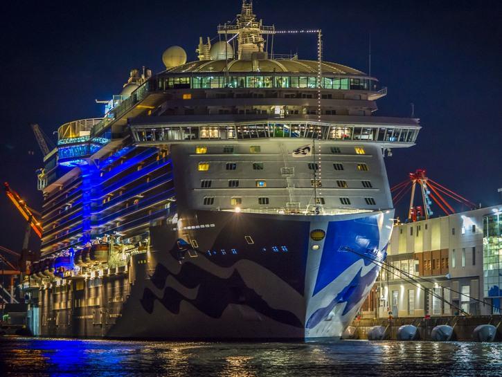 Cruise ship at anchor at night
