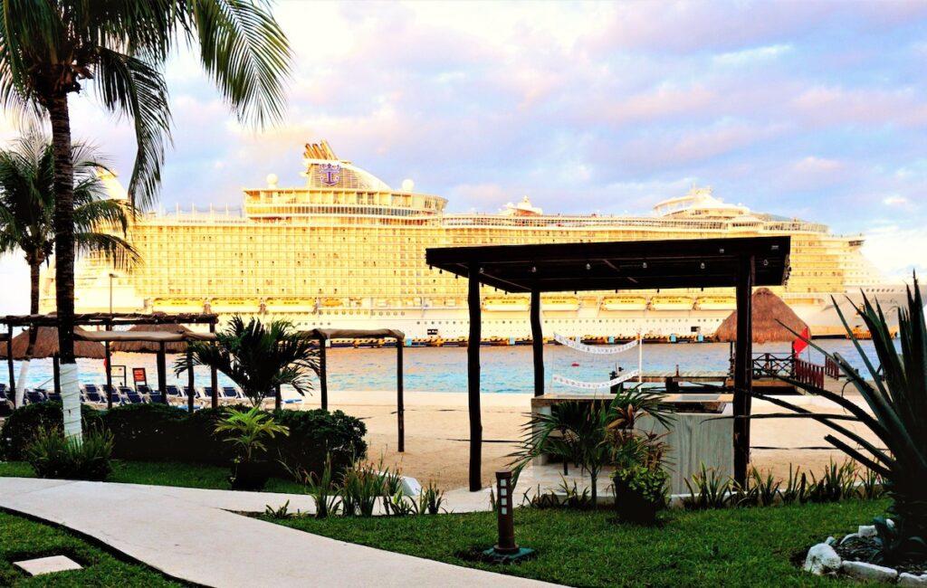 Cruise ship views from El Cid La Ceiba Resort Hotel.