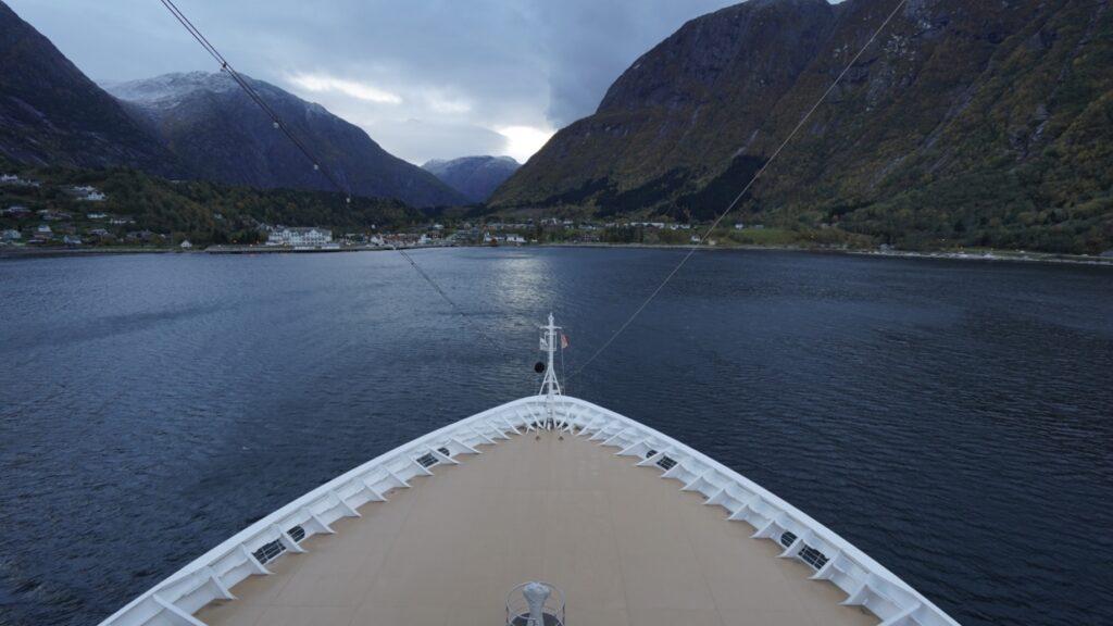 Cruising through fjords in Norway.