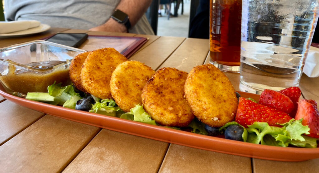 Crunchy fried goat cheese medallions.