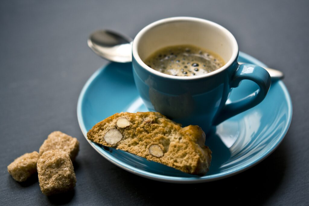 Cup of espresso with biscotti
