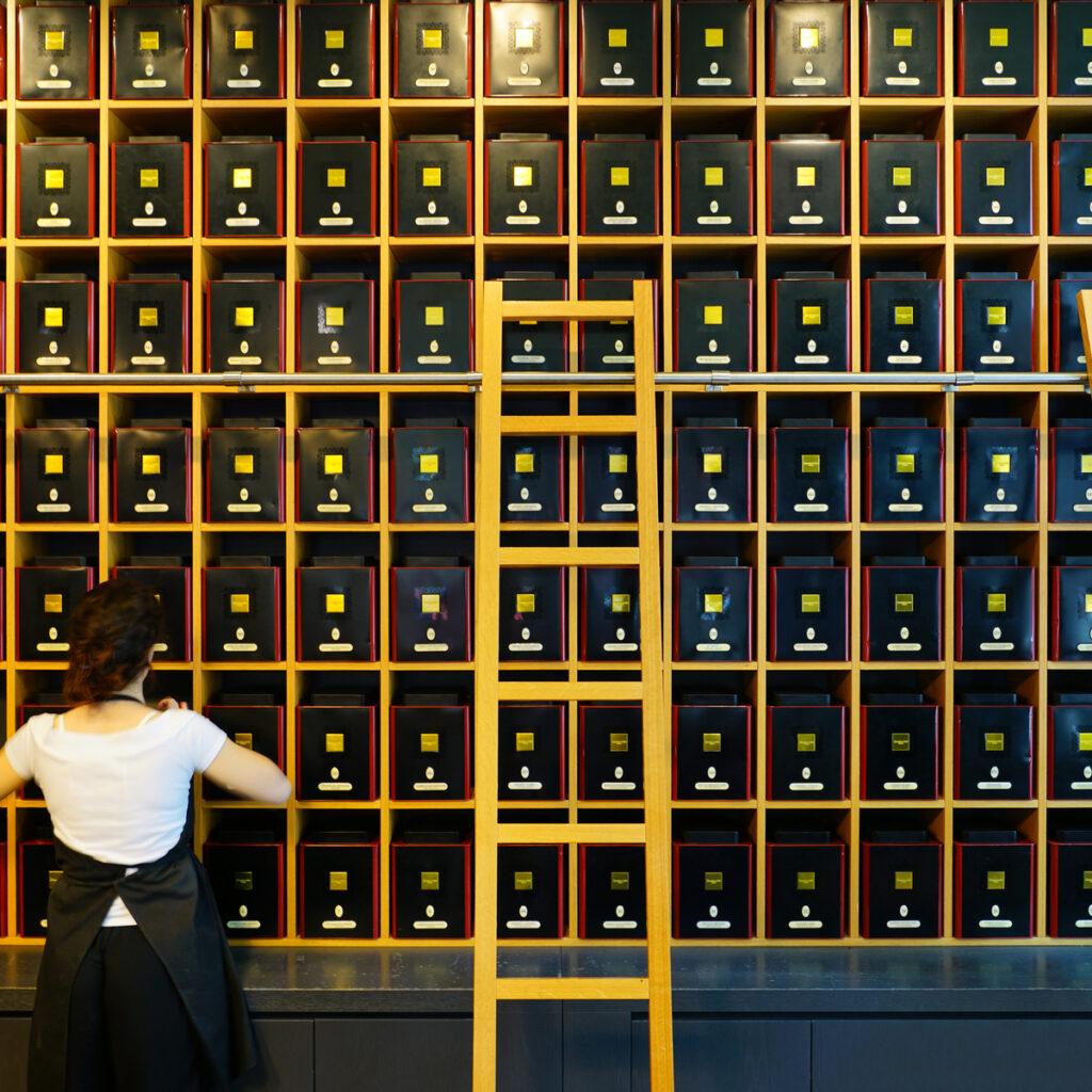 Dammann Freres gourmet tea shop in Paris.