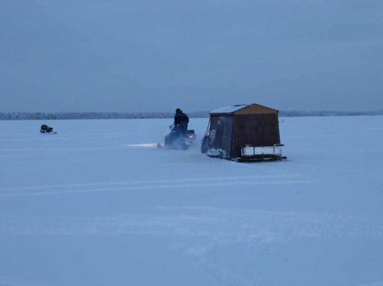 Dark house ice fishing in Minnesota.