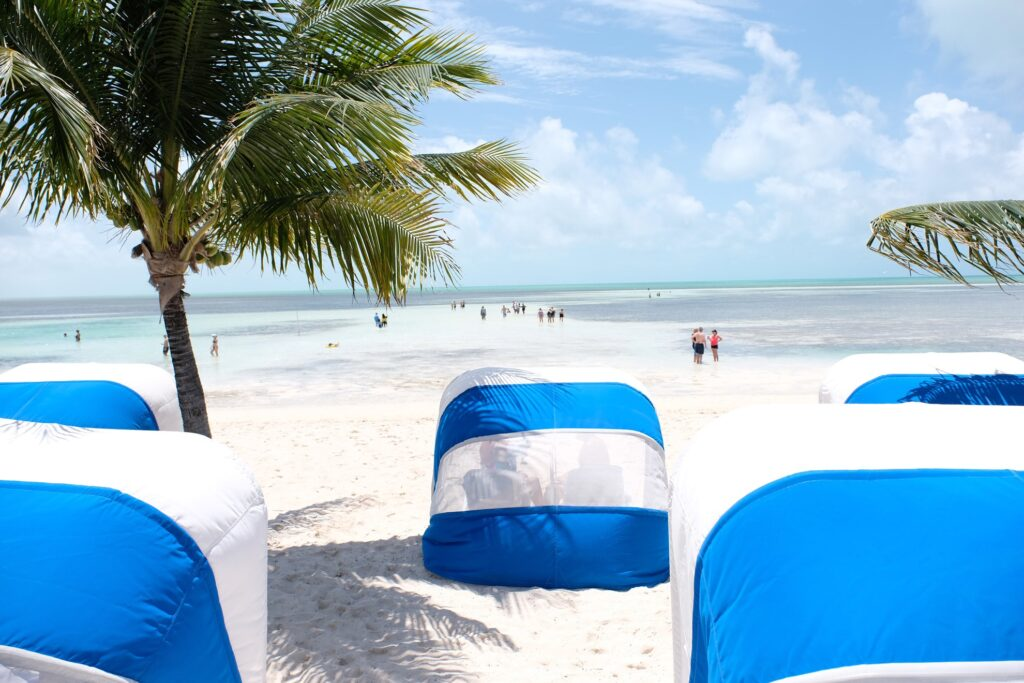 Day beds on a beach on CocoCay.