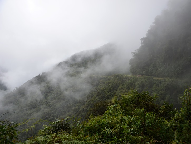 Death Road in Bolivia, fog over the rainforest