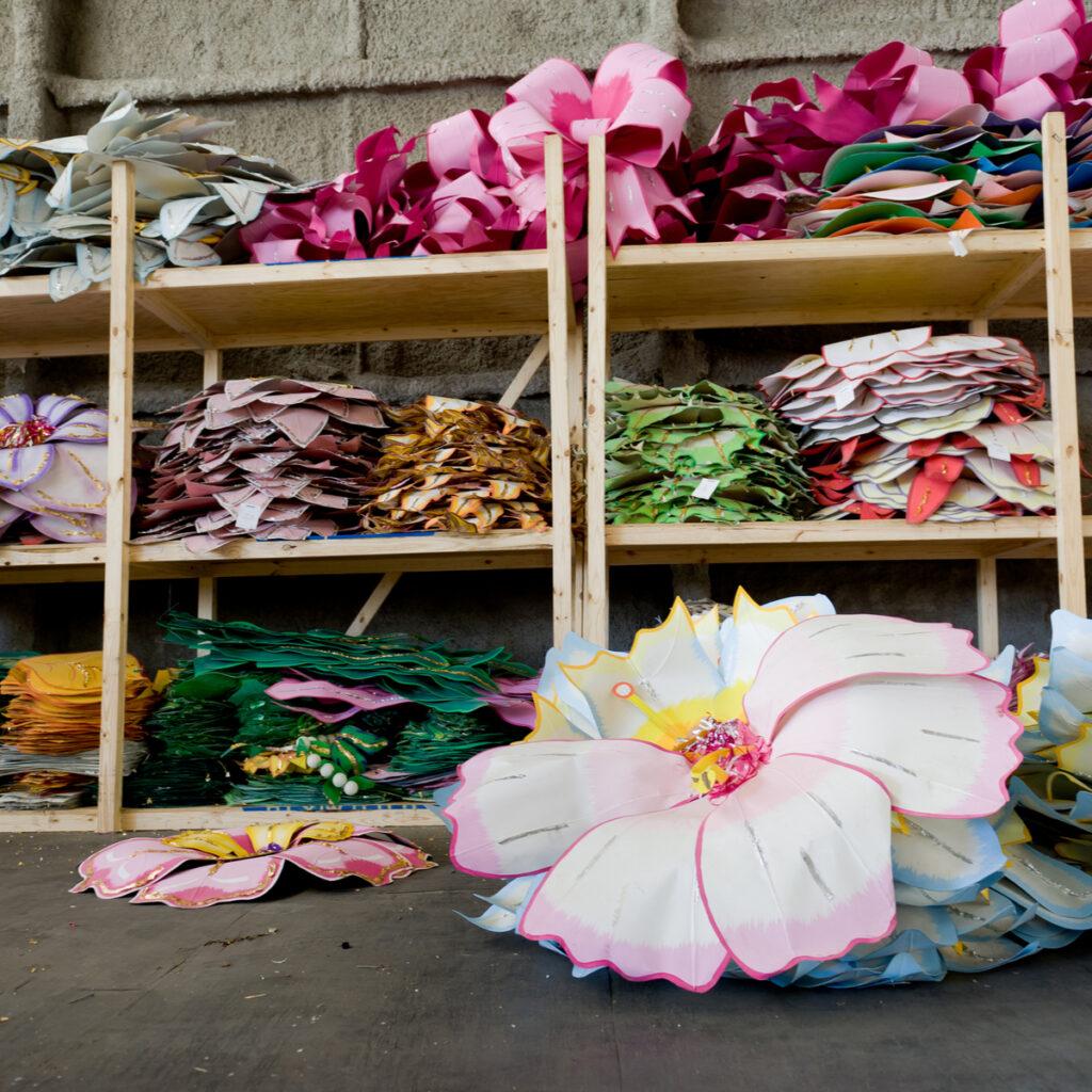 Decorations inside Mardi Gras World