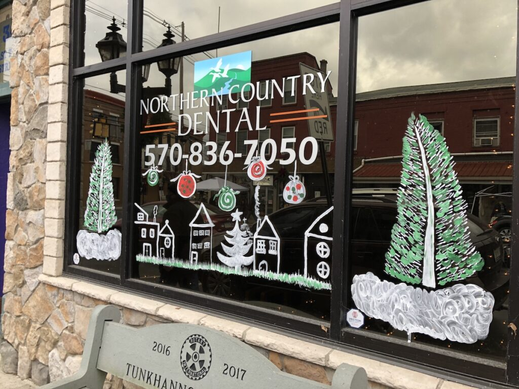 Decorations on a business in downtown Tunkhannock.