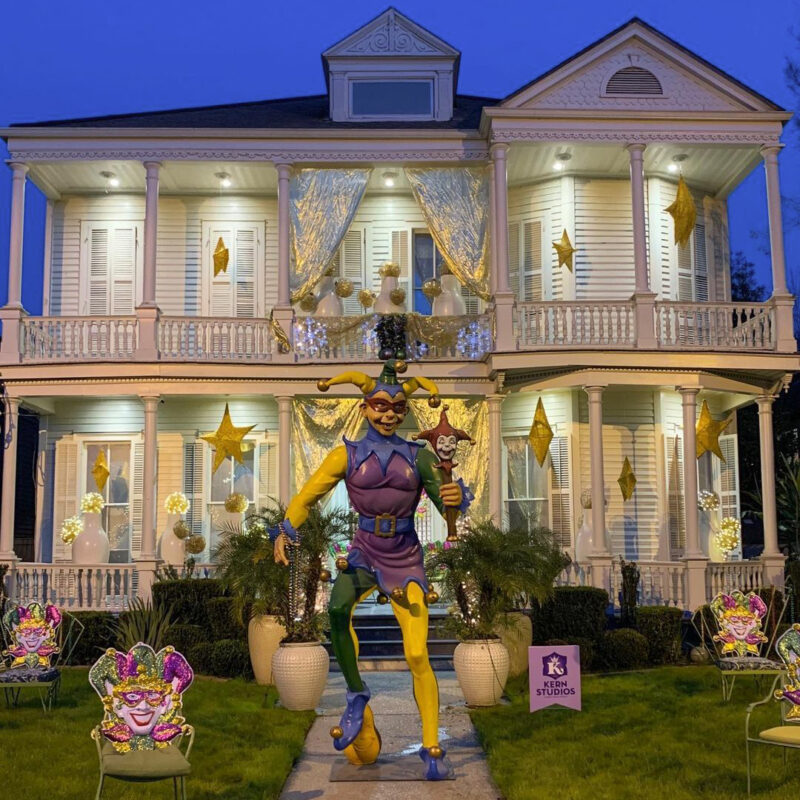 Decorations on a House Float in New Orleans for Mardi Gras.