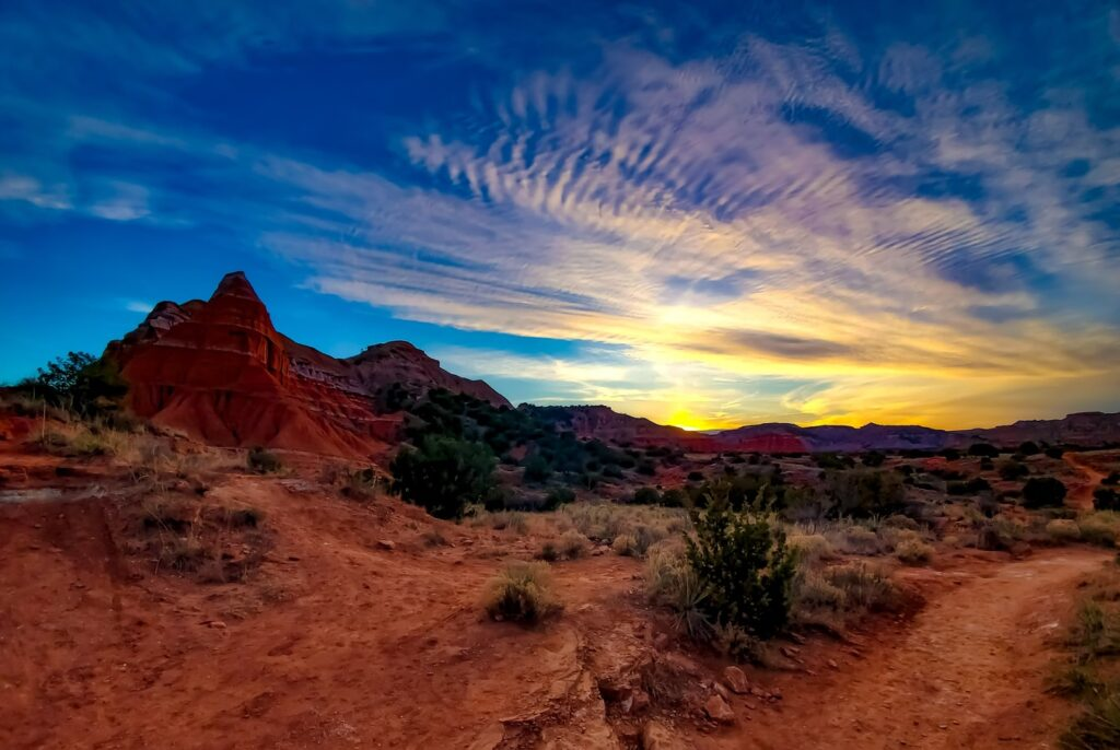Deep blue sky over Palo Duro Canyon, Texas