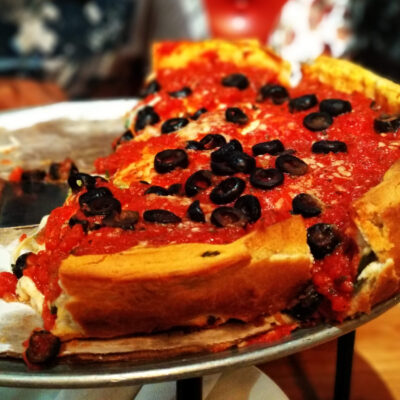 Deep dish pizza at Giordanos, Chicago.