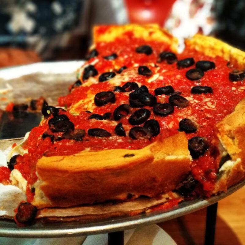 Deep dish pizza at Giordanos, Chicago.