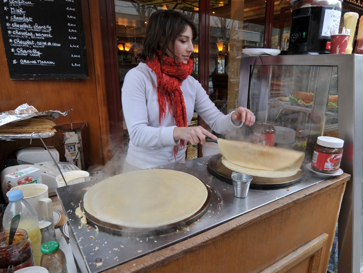 Delicious crêpes being made on the streets of Paris.