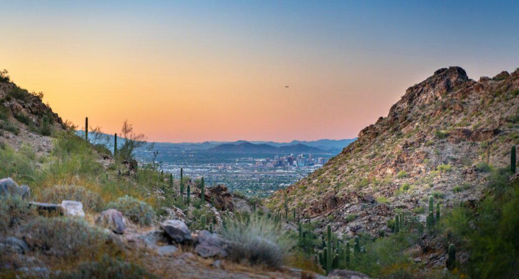 Desert landscape near Phoenix in South Mountain Park.