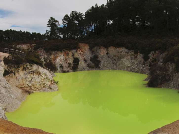 Devil's Bath, green sulphur pond, New Zealand