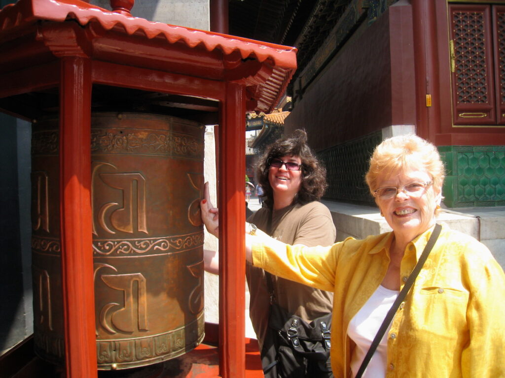 Diana and Nancy exploring the Chinese temples.