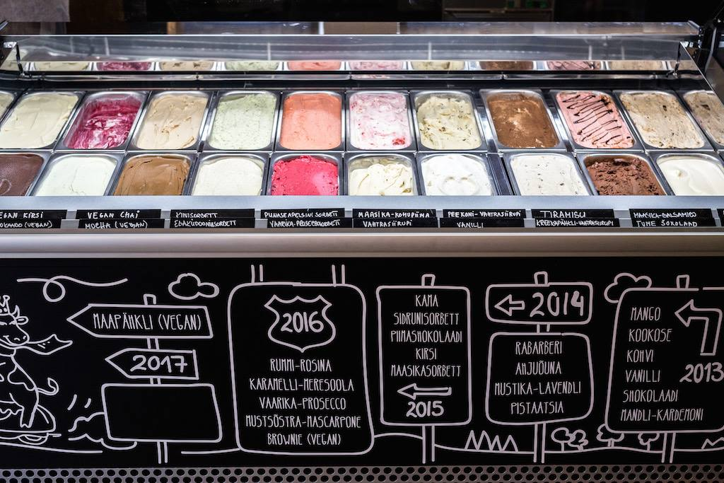 Different flavors of ice cream at Cafe La Muu.