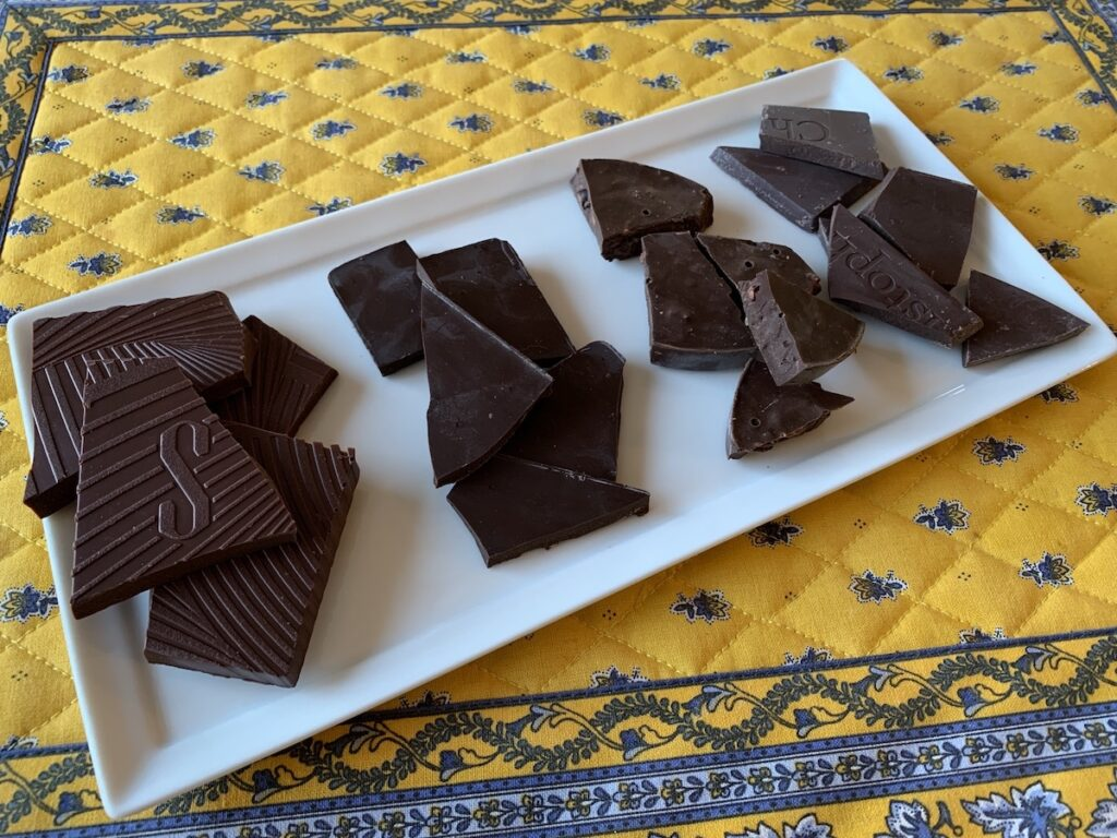Different types of chocolate the writers enjoyed.