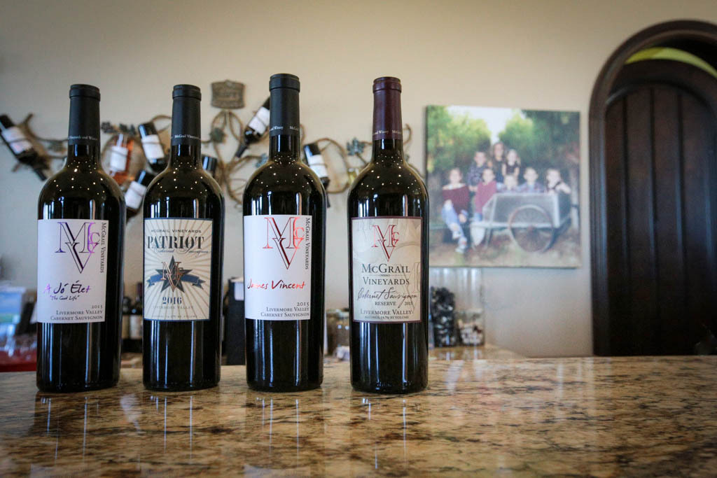 Different types of wines from McGrail Vineyards.