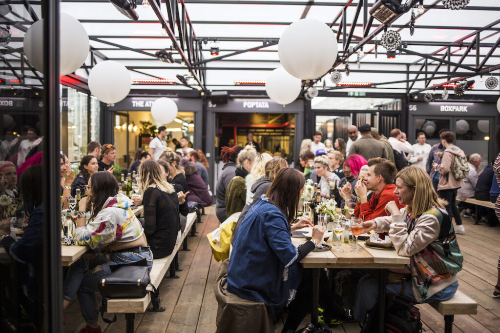 Diners at BOXPARK Shoreditch.
