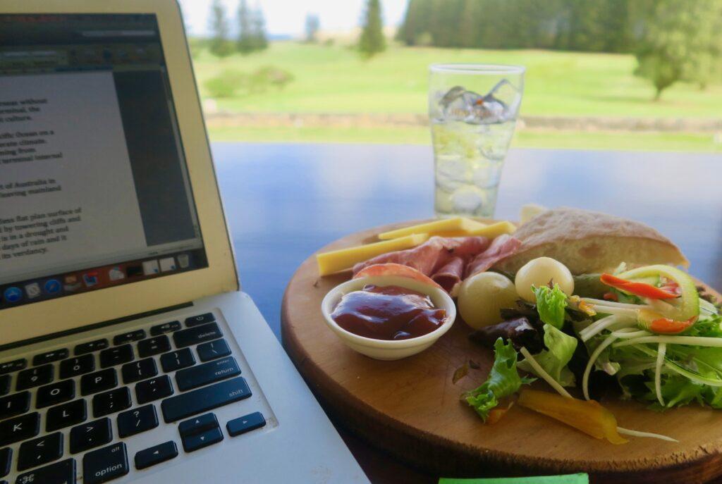 Dining alone at Norfolk Island Golf Club.