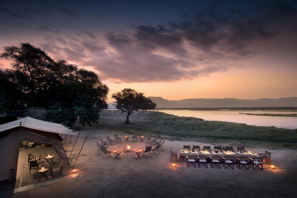 Dinner under the stars on an African safari.