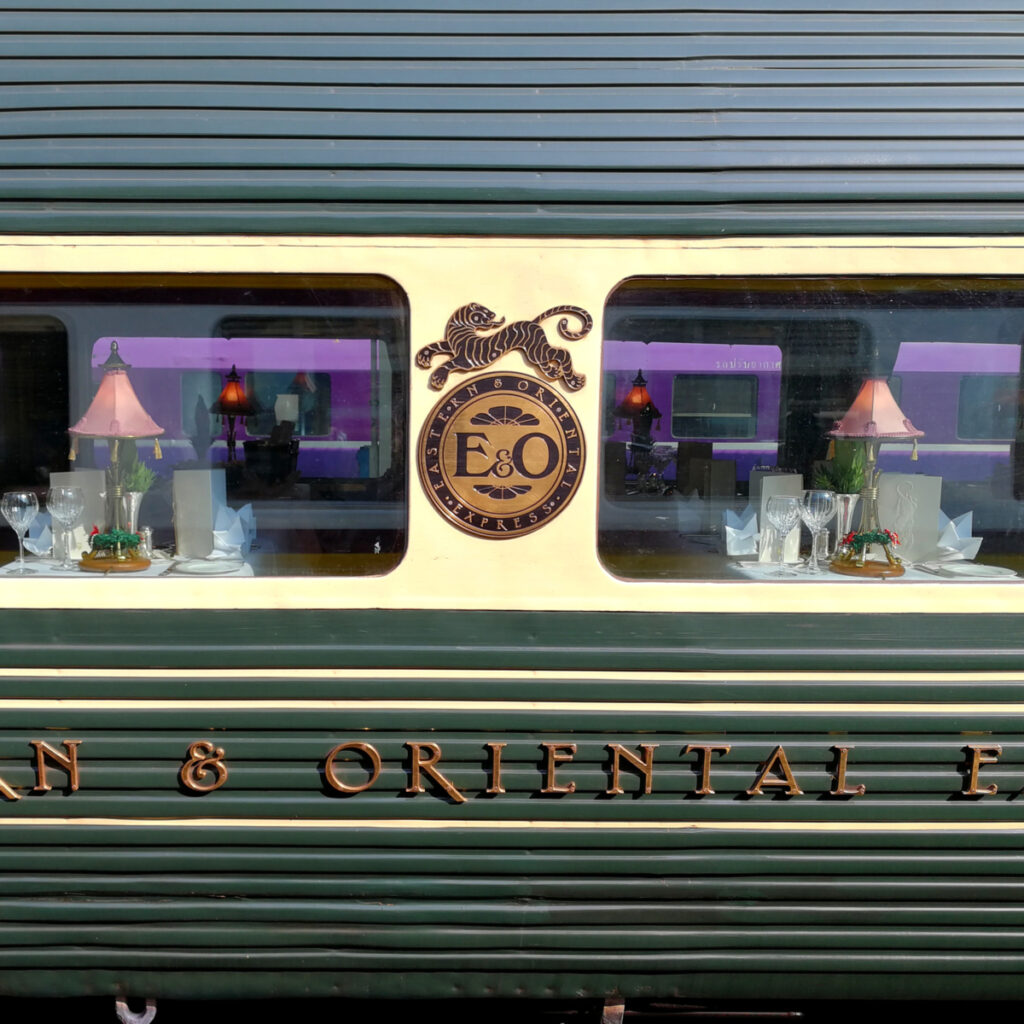 Dinning cabin on the Eastern and Oriental Express.
