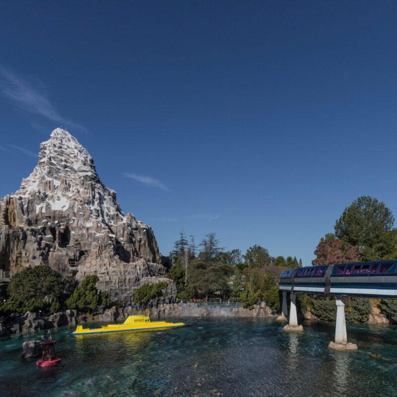 Disney monorail, Matterhorn Bobsleds, and Finding Nemo Submarine Voyage.