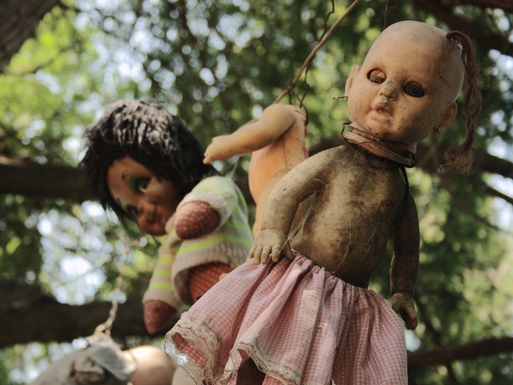 Dolls hanging from trees, Island of the Dolls