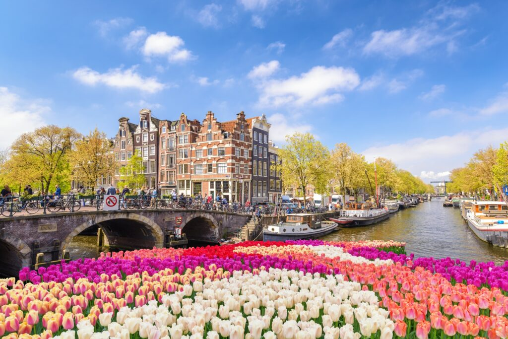 Downtown Amsterdam in the Netherlands.