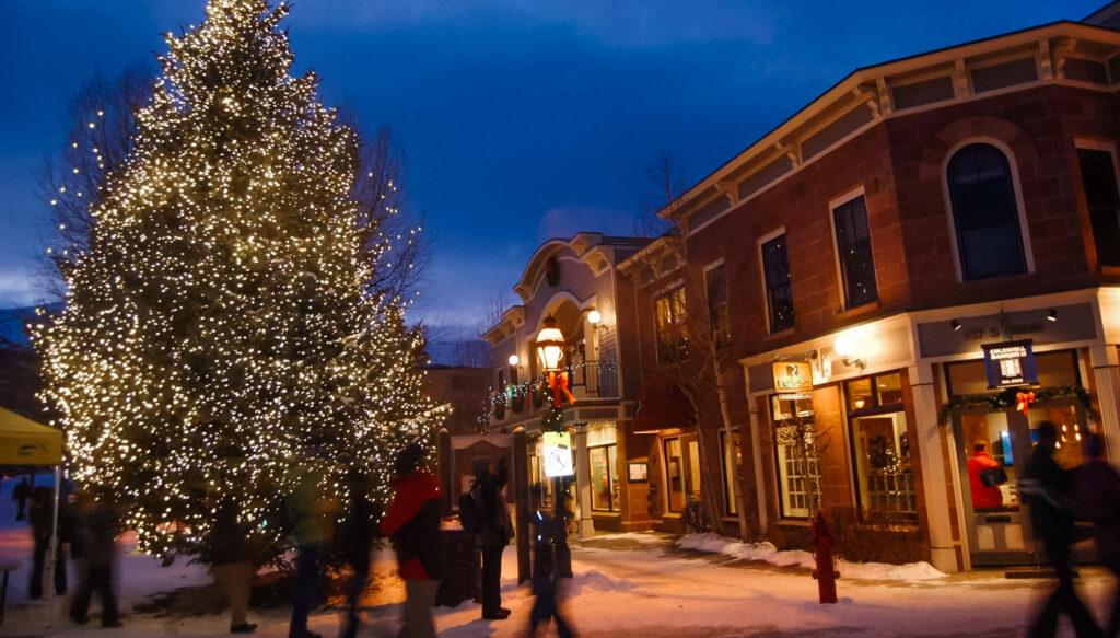 Downtown Breckenridge, Colorado, at Christmas.