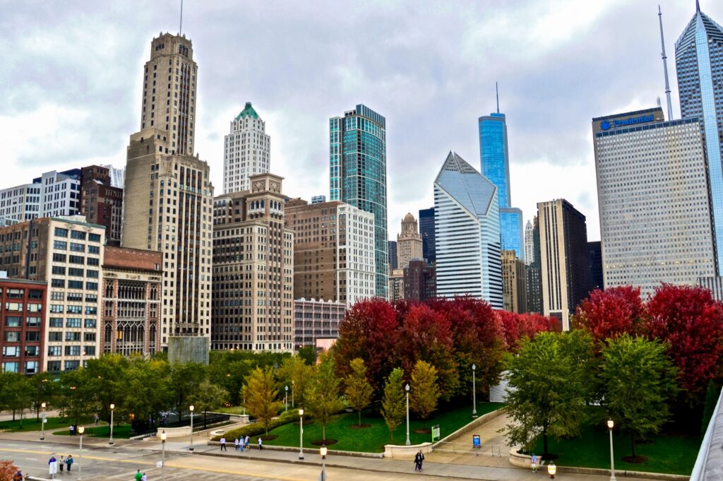 Downtown Chicago in the fall.