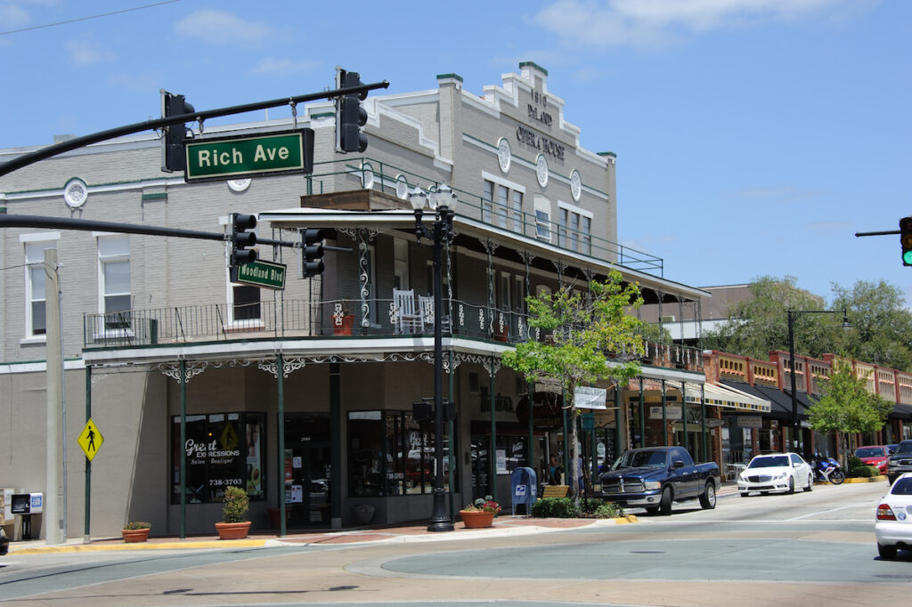 Downtown DeLand, a small town in Florida.